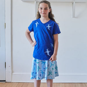 """PteroSOARS"" Flying Dinosaurs Stretchy Knee-Length Twirly Skirt"
