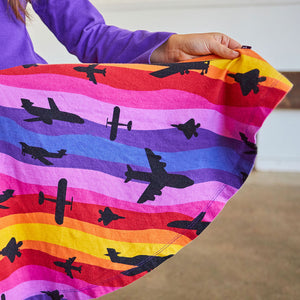 """Twilight Takeoff"" Sunset Airplanes Long Sleeve Twirly Play Dress"
