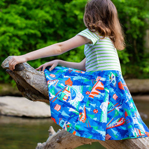 """All Aboard for Adventure"" Trains Short Sleeve Super Twirler Play Dress"