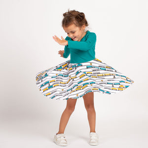 """ENGINEuity"" Trains Twirly Play Dress with Long Sleeves"