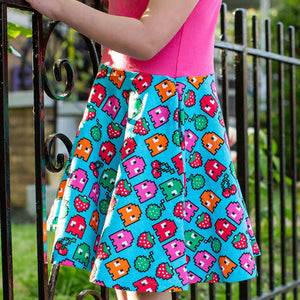 """Arcade Snacks"" Video Game Ghosts Sleeveless Twirly Play Dress"