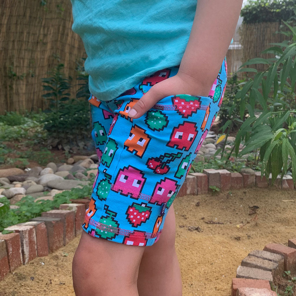 """Arcade Snacks"" Video Game Ghosts Shorts with Pockets"