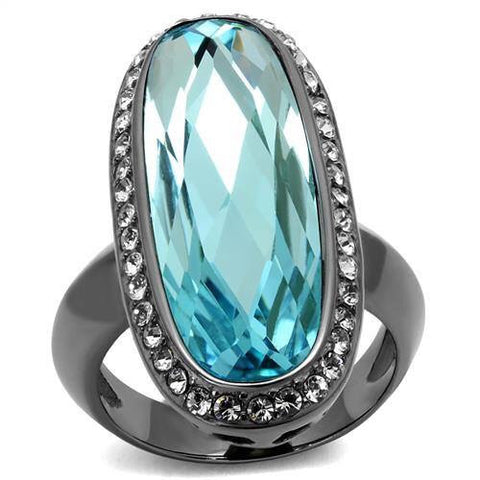 Sea Blue Crystal Gun Metal Stainless Ring