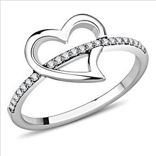 Load image into Gallery viewer, Heart Ring with Band Pave Crystals Newest
