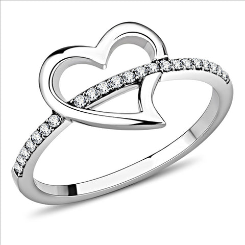 Heart Ring with Band Pave Crystals Newest