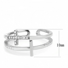 Load image into Gallery viewer, Cross Ring - Two Crosses One Plain and One with Crystals Newest Cuff Style