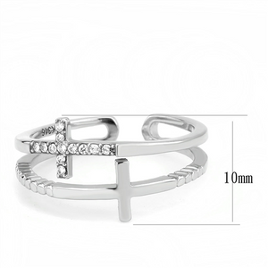 Cross Ring - Two Crosses One Plain and One with Crystals Newest Cuff Style