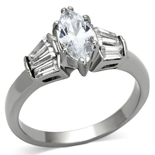 Brilliant Cut Marquis Center Stone with Adorning Baguettes - Newest Style April Birthstone