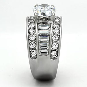Stainless Steel Double Eternity Band with Baguettes Adorning 5 carat center Crystal!!