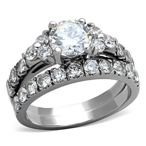 Stainless Steel Ring High polished (no plating) Women AAA Grade CZ Clear - Newest
