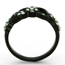 Load image into Gallery viewer, Black Stainless Peridot Flower Ring August Birthstone
