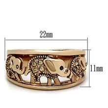 Load image into Gallery viewer, Rose Gold IP Stainless Elephant Ring Champagne Crystals November Birthstone