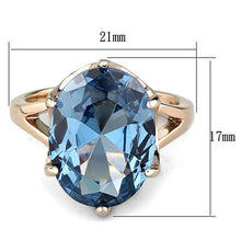 Load image into Gallery viewer, Rose Gold IP Oval Brilliant Blue Crystal Newest December Birthstone March Birthstone