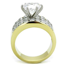 Load image into Gallery viewer, Stainless Steel Ring Two-Tone IP Gold (Ion Plating) Women AAA Grade CZ Clear