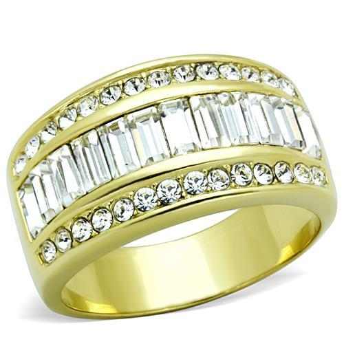 Gold IP Newest Baguettes Double Half Eternity Band April Birthstone