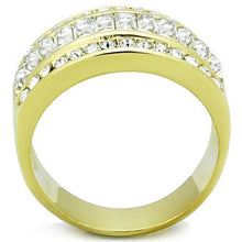 Load image into Gallery viewer, Gold IP Newest Baguettes Double Half Eternity Band April Birthstone