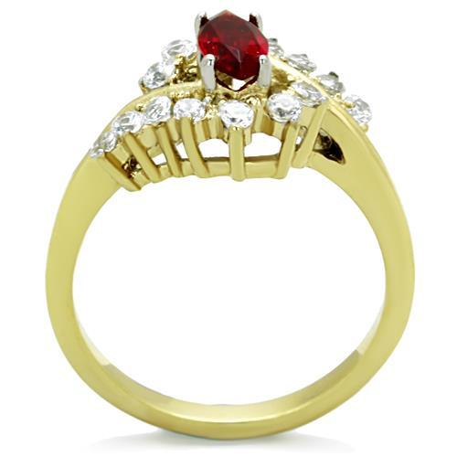 Stainless Steel Ring Two-Tone IP Gold (Ion Plating) Women Synthetic Red Newest Birthstone