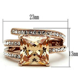 Steel Ring IP Rose Gold(Ion Plating) Women Champagne