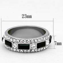 Load image into Gallery viewer, Black Tourmaline and Crystal Double Eternity Band