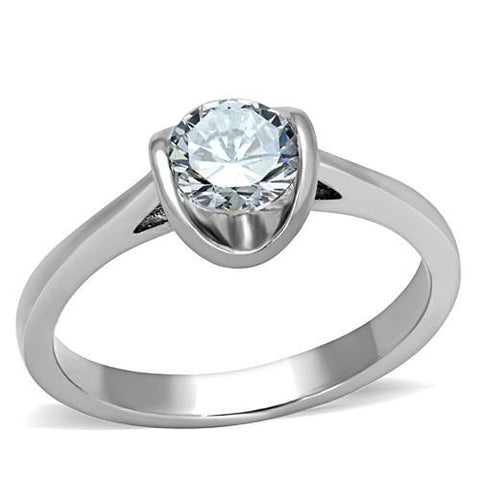Stainless Steel Ring High polished (no plating) Women AAA Grade CZ Clear Newest Minimalistic
