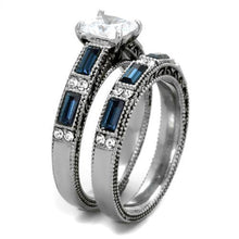 Load image into Gallery viewer, Sapphire Crystal Wedding Ring Set September Birthstone