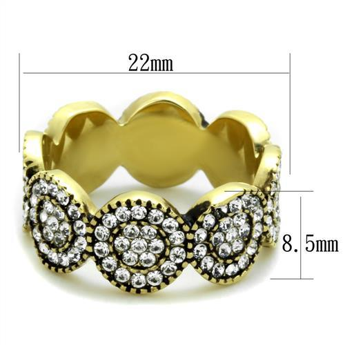 Ion Plated Gold Circular Crystal Band