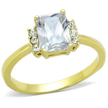 Load image into Gallery viewer, Emerald Cut Crystal Ring Gold ION Plating Stainless Steel