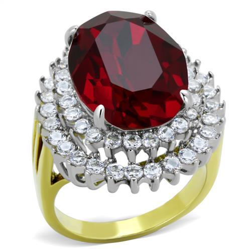 Stainless Steel Ring Women Top Grade Crystal January Birthstone Red