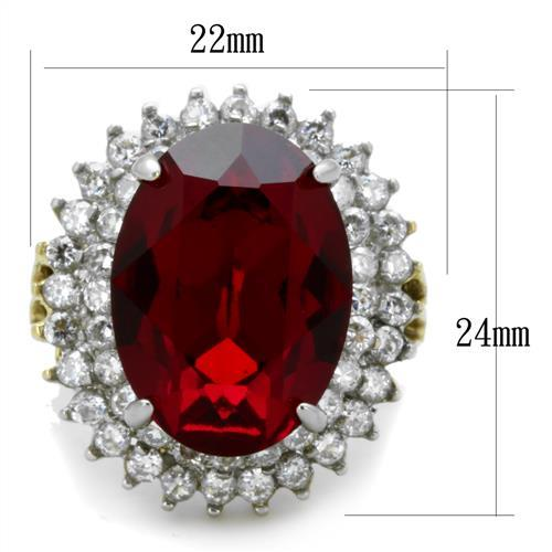 Stainless Steel Ring Two-Tone IP Gold (Ion Plating) Women Top Grade Crystal Beautiful Red