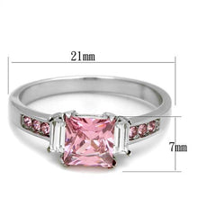 Load image into Gallery viewer, Stainless Steel Ring High polished (no plating) Women AAA Grade CZ Rose Newest October Birthstone