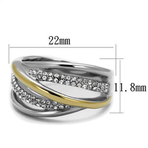 Stainless Steel Ring Two-Tone IP Gold (Ion Plating) Women Top Grade Crystal Clear New Style