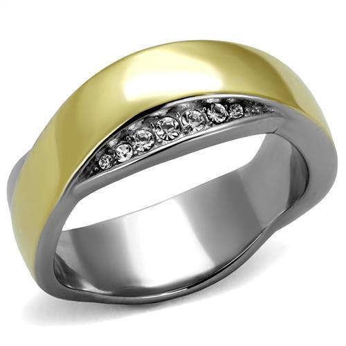 Stainless Steel Ring Two-Tone IP Gold (Ion Plating) Women Top Grade Crystal Clear Two Tone Newest