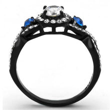 Load image into Gallery viewer, Two-Tone Black IP - Clear Crystals with Sapphire Accents - April Birthstone - February Birthstone