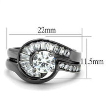 Load image into Gallery viewer, 1 Wedding Set Round Center Crystal Baguettes Swirl with Round Crystals on Band Newest  Black IP