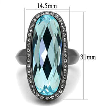 Load image into Gallery viewer, Sea Blue Crystal Gun Metal Stainless Ring December Birthstone March birthstone