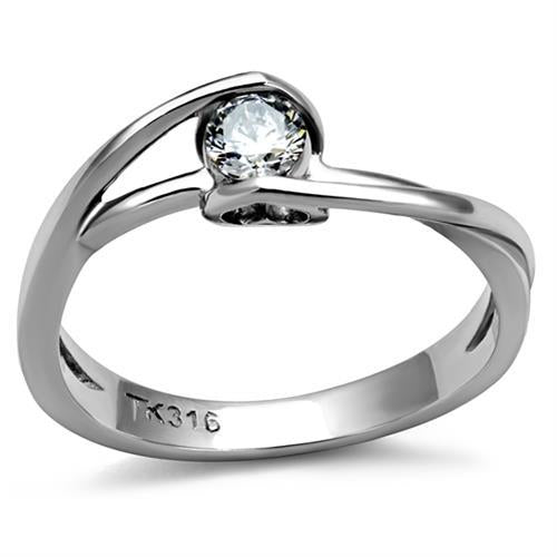 Bezel Set  Brilliant Round-Cut Crystal with Dainty Heart Accent on -Newest April Birthstone