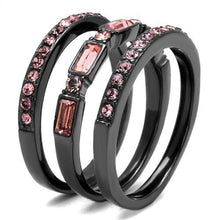 Load image into Gallery viewer, 1 Wedding Set Pink Ice Eternity Bands October Birthstone