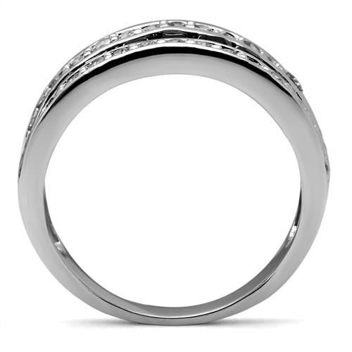 High Polished- Pave- Black Diamond with Double Crystal Band