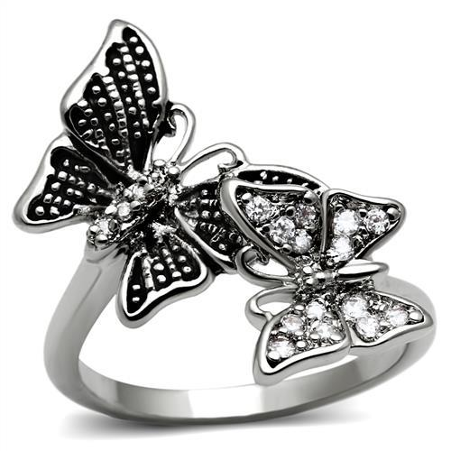 Butterfly Stainless Steel White Diamond like Crystal Setting