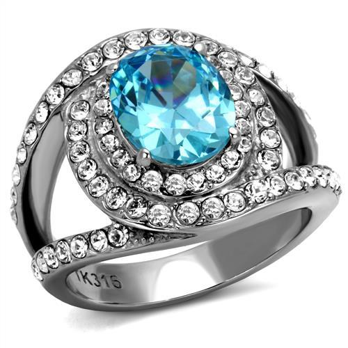 Sea Blue March Birthstone Ring - Large Oval Center Crystal with Mystic Swirl Rows Encompassing Stone