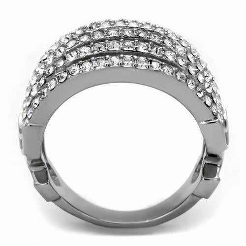 Stainless Crystal Cocktail Ring