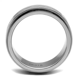 Stainless Steel Ring High polished (no plating) Men's - Basketweave Design