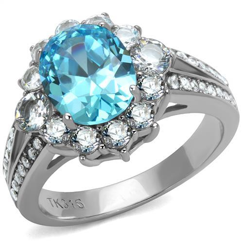 Aquamarine Single Halo Split Band- Most Popular - December Birthstone - March
