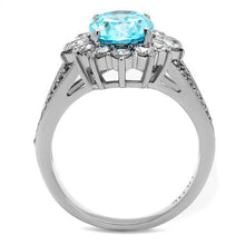 Load image into Gallery viewer, Aquamarine Single Halo Split Band- Most Popular - December Birthstone - March