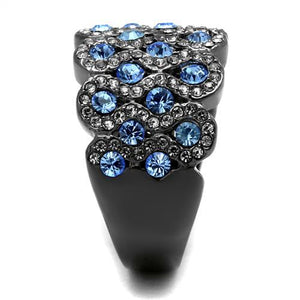 Aqua Marine Black Ion Stainless Steel Cluster Ring Newest March Birthstone