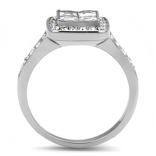Princess-Cut Halo Engagement Ring with Crystal Band - Stainless Steel -Travel Jewelry