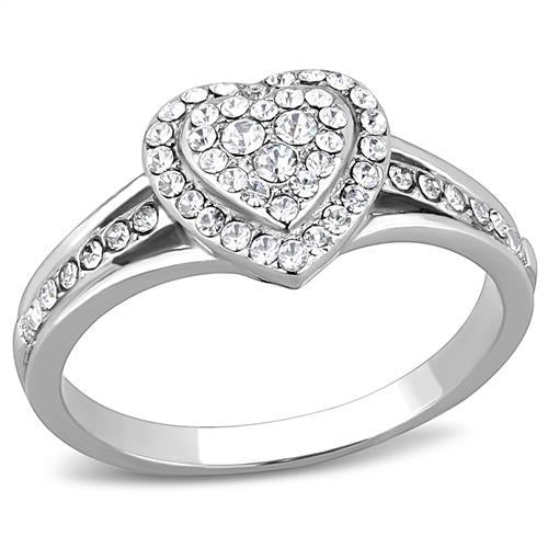 Pave Crystals Heart Ring April Birthstone