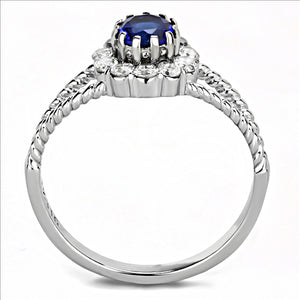 Stainless Steel Ring High polished (no plating) Women Synthetic Deep Blue Minimalistic Newest