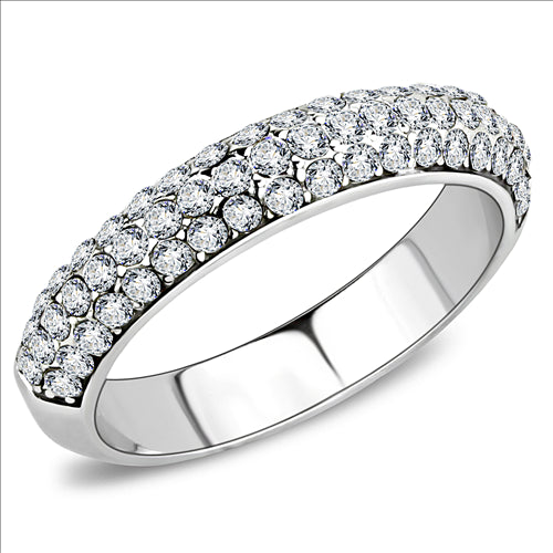 Semi Eternity Band with Pave Crystals  April Birthstone