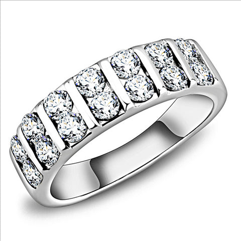 Double Crystal Band- Stainless Steel Ring Both Men's and Women